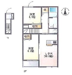 築浅 全室禁煙のクリーンなお部屋です。[2階]の間取り