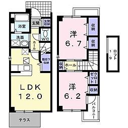 プリムヴェールB[2階]の間取り
