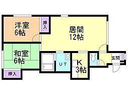 ソフィール17号館 2階2LDKの間取り