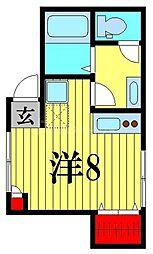 COLTO亀有 1階ワンルームの間取り
