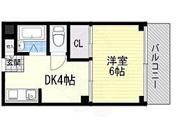 ルーチェ南安威 2階1DKの間取り