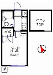 千葉県船橋市古和釜町の賃貸アパートの間取り