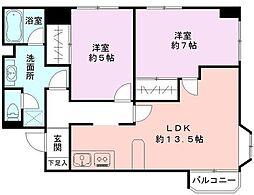 神奈川県海老名市さつき町の賃貸マンションの間取り