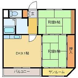第二京栄ハイツ[2階]の間取り