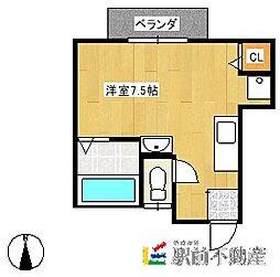 ピュアハウスII 1階ワンルームの間取り