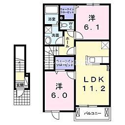 岡山県赤磐市下市丁目なしの賃貸アパートの間取り