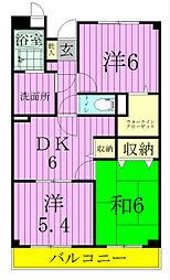 千葉県松戸市栄町西2丁目の賃貸マンションの間取り