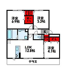 D-room阿恵IIA棟[1階]の間取り