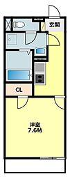 JR東海道本線 西岡崎駅 徒歩7分の賃貸アパート 3階1Kの間取り