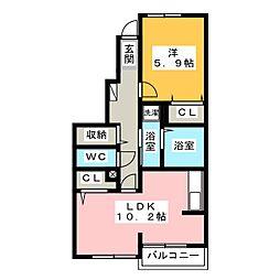 マリンコート・掛川[1階]の間取り