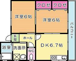 福岡県北九州市小倉北区平松町の賃貸アパートの間取り
