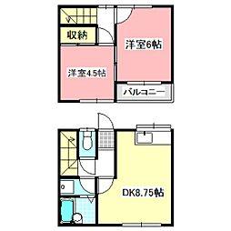[テラスハウス] 千葉県野田市尾崎 の賃貸【/】の間取り