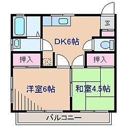 神奈川県横浜市港北区大倉山2丁目の賃貸アパートの間取り