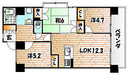 レーベンスフロイデ小倉[3階]の間取り