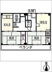 ビレッジハウス幸田 4号棟[1階]の間取り