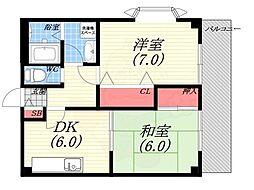 JR東海道・山陽本線 西宮駅 徒歩17分の賃貸マンション 3階2DKの間取り