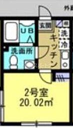 東武野田線 柏駅 徒歩10分の賃貸アパート 3階1Kの間取り