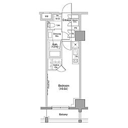 ザ・パークハビオ恵比寿プレイス 7階ワンルームの間取り