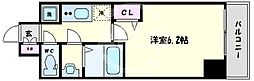 プレサンス心斎橋クオーレ 11階1Kの間取り