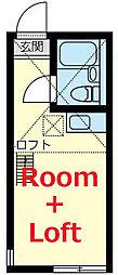 ユナイトANZENアリソン・ベッケル 2階ワンルームの間取り