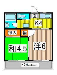 サンケイハイツI[2階]の間取り