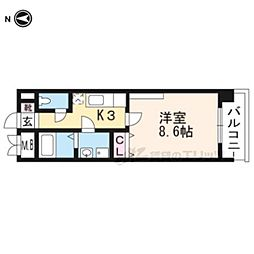 京都市営烏丸線 竹田駅 徒歩9分の賃貸マンション 3階1Kの間取り