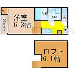 愛知県名古屋市昭和区川名町4丁目の賃貸アパートの間取り