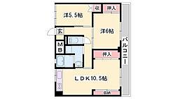 JR加古川線 新西脇駅 バス20分 役所前下車 徒歩5分の賃貸マンション 3階2LDKの間取り