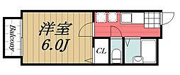 京成千原線 大森台駅 徒歩20分の賃貸アパート 2階1Kの間取り