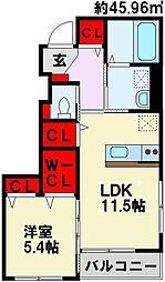 仮)本城東2丁目新築アパート[103号室]の間取り