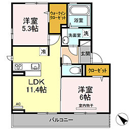 D-room可部3丁目A棟[303号室]の間取り