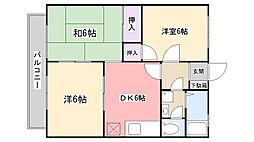 グレース田喜野井III番館[206号室]の間取り