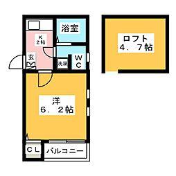 ピュア県庁 拾番館[2階]の間取り