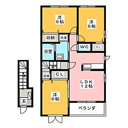 プリムローズII B[2階]の間取り