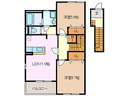 サンプレイスM B棟[2階]の間取り