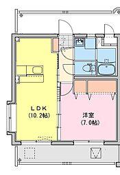 (仮称)都城牟田町マンション北棟 4階1LDKの間取り