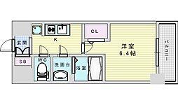 阪急京都本線 淡路駅 徒歩2分の賃貸マンション 7階1Kの間取り