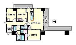エルセレーノ上本町レジデンス 2階3LDKの間取り