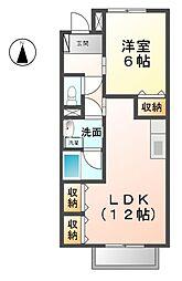 愛知県稲沢市緑町4丁目の賃貸アパートの間取り