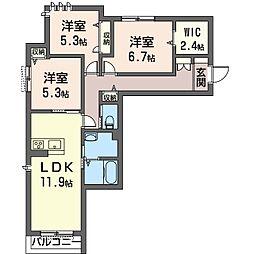 仮称 朝霞市幸町2丁目シャーメゾン[2階]の間取り