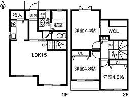 [テラスハウス] 愛知県小牧市上末 の賃貸【/】の間取り