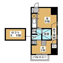 ラ・シュシュ覚王山 1階ワンルームの間取り