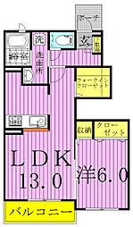 千葉県柏市手賀の杜2丁目の賃貸アパートの間取り
