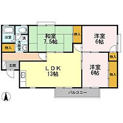 セジュールストークII[2階]の間取り