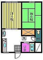 宮崎県宮崎市丸山1の賃貸アパートの間取り