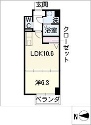 H・F名駅北レジデンスWEST[6階]の間取り