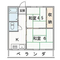 旭マンション 3階2Kの間取り