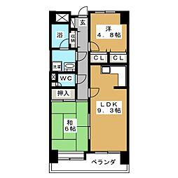 宮城県仙台市太白区鹿野3丁目の賃貸マンションの間取り