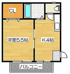 福岡県筑紫野市湯町2丁目の賃貸アパートの間取り