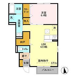 JR高崎線 本庄駅 徒歩12分の賃貸アパート 1階1LDKの間取り